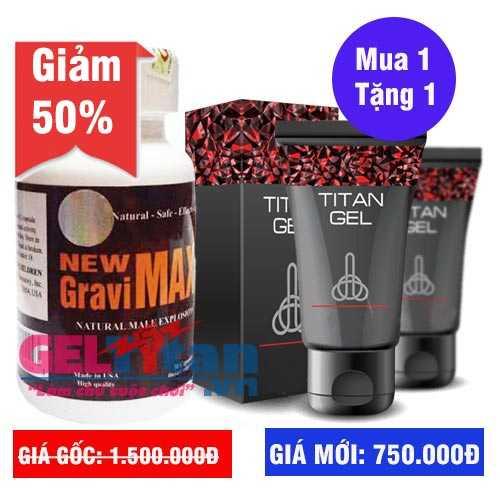 Khuyến mãi Combo khi mua viên uống New Gravimax tăng ngay Gel Titan Nga