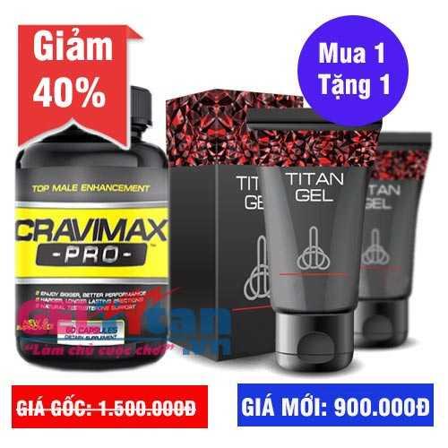 Khuyến mãi Combo khi mua lọ viên uống Cravimax Pro tặng ngay Gel Titan Nga