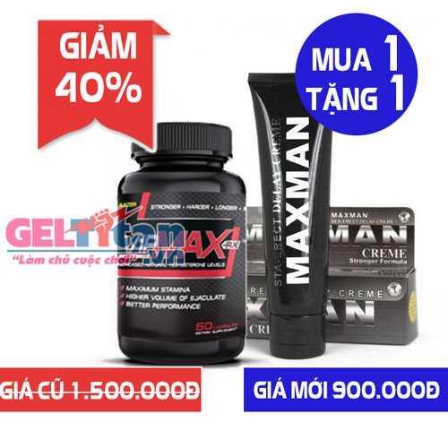 Khuyến mãi Combo khi mua 1 lọ viên uống Vipmax rx tặng ngay Gel Titan Maxman USA