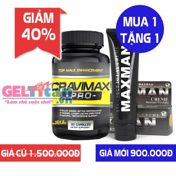 [Khuyến mãi] Mua 1 lọ Cravimax Pro giảm 40% tặng kèm 1 Gel Maxman USA