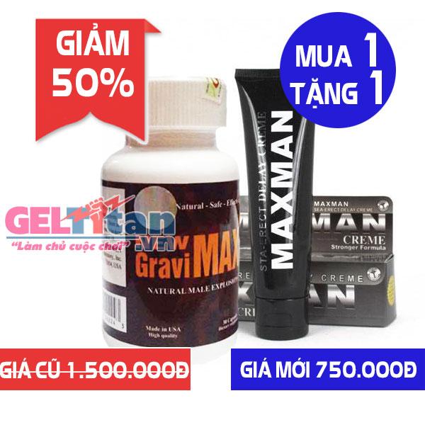 Khuyến mãi Combo khi mua viên uống New Gravimax tăng ngay Gel Titan Maxman USA