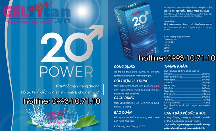 Thành phần có trong 20 Power