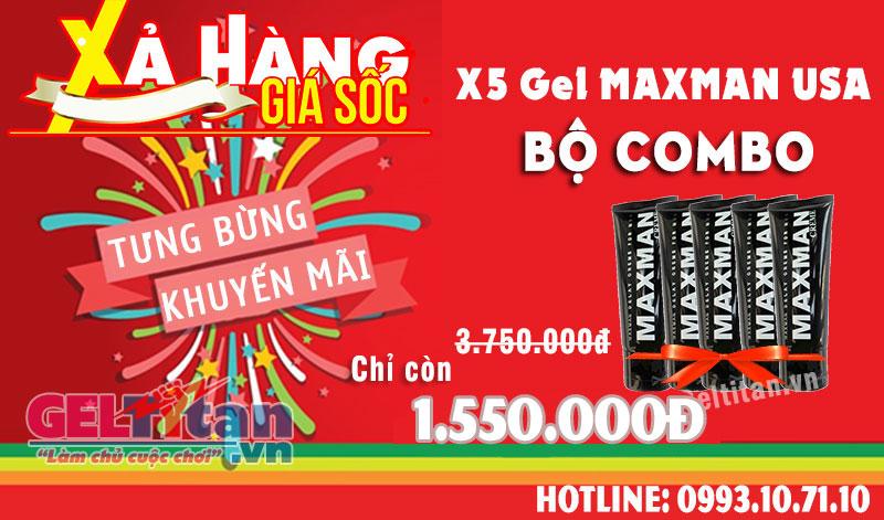 Khi mua Combo 3 Gel Maxman USA được giảm 65% giá trị sản phẩm